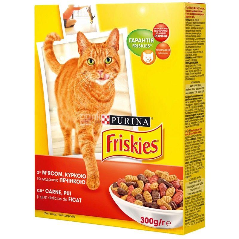Friskies, 300 г, корм, для котов, с мясом, курицей и печенью, сухой, Adult