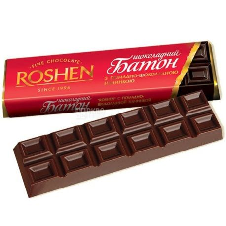 Roshen, 43 г, шоколадный батончик, шоколадно-помадный