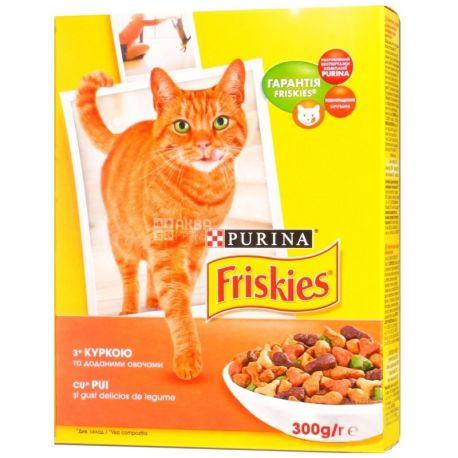 Friskies, 300 г, корм, для котов, с курицей и овощами, сухой, Adult