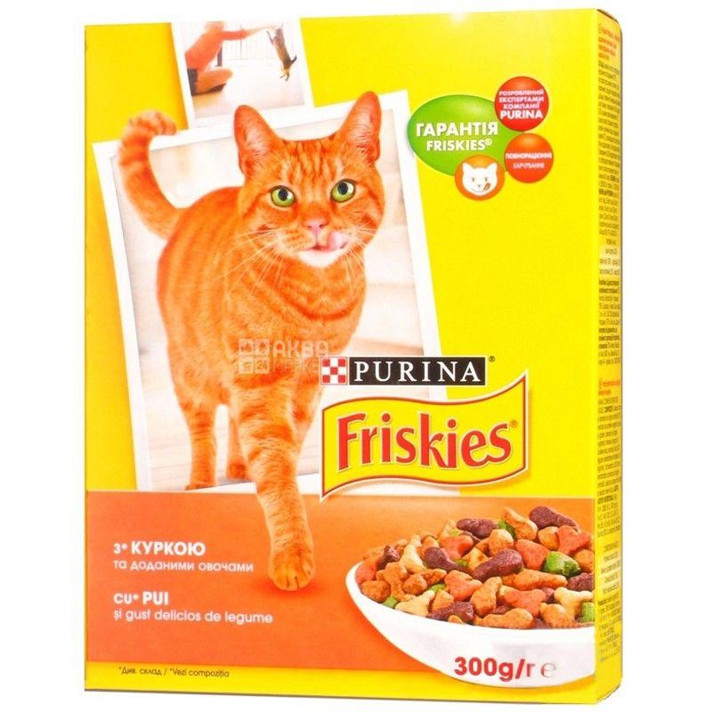 Friskies, 300 г, корм, для котів, з куркою та овочами, сухий, Adult