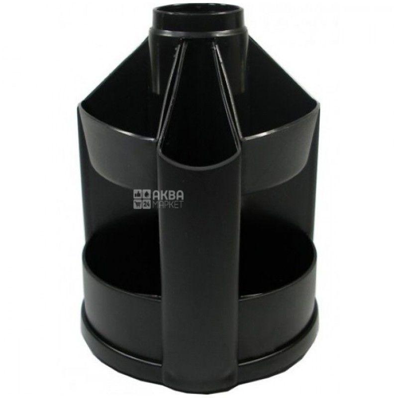 КиП, 10 отделений, органайзер настольный, Для ручек, Пластик, Черный, м/у