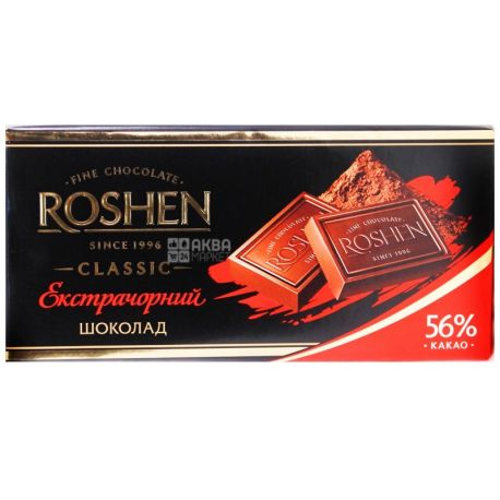 Roshen, 90 г, черный шоколад, Экстрачерный