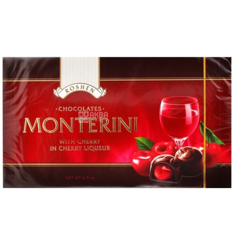 Roshen, 150 g, candy, Monterini, with cherry in a cherry liqueur