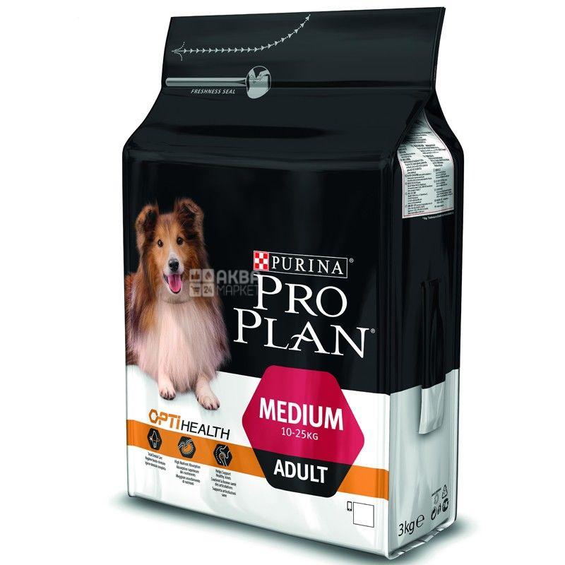 Pro Plan, 3 кг, корм для собак середніх порід, Adult, Chicken