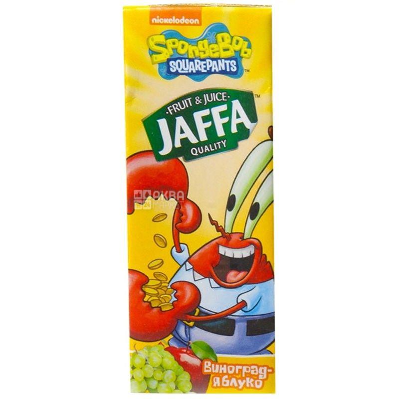 Jaffa, Sponge Bob, Виноградно-яблучний, 0,2 л, Джаффа, Губка Боб, Нектар натуральний, дітям від 3-х років