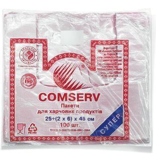Comserv, 100 шт., 25х45 см, пакет-майка, Фасувальний, м/у