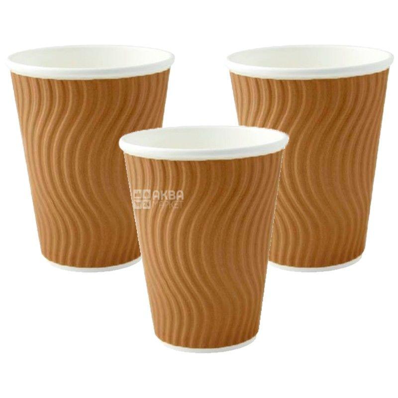 Brown corrugated paper 250 ml, 25 pcs, D80