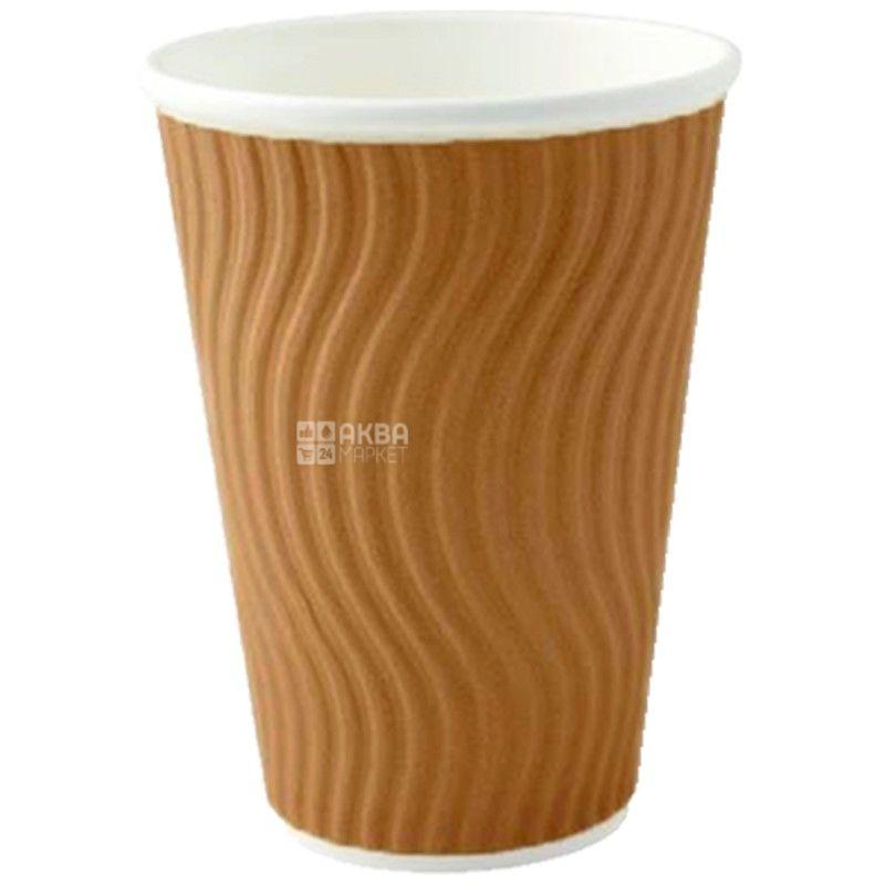 Brown corrugated paper 400 ml, 25 pcs, D92