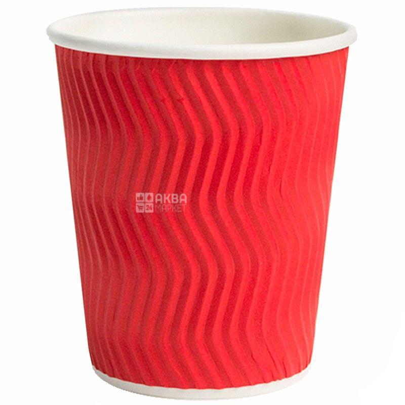 Гофростакан паперовий червоний 250 мл, 25 шт, D80