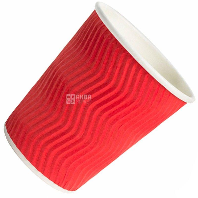 Гофростакан бумажный красный 250 мл, 25 шт, D80