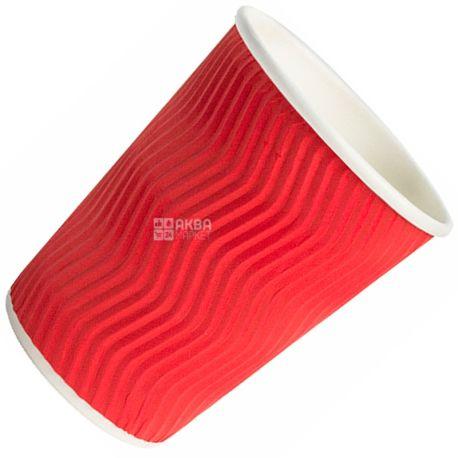Промтус, 25 шт., 400 мл, бумажный стакан, Гофрированный, Красный, м/у