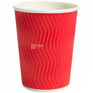 Promtus Glass paper corrugated red 400 ml, 25 pcs, D92