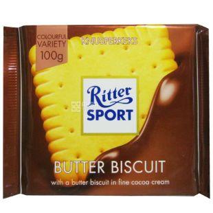 Ritter Sport, 100 г, молочний шоколад, Bitter Biscuits
