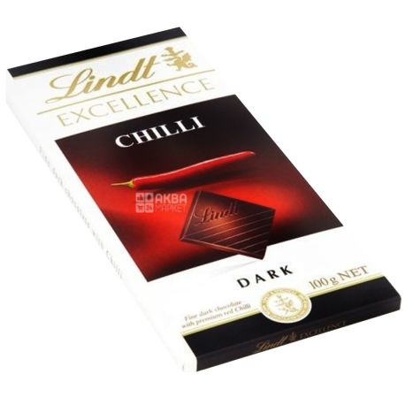 Lindt, 100 г, чорний шоколад, з перцем чилі, 48% какао, Excellence, Chilli