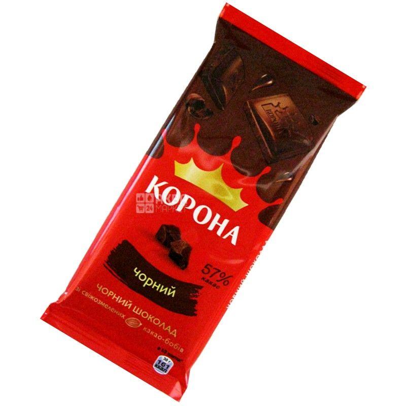 Корона, 90 г, молочний шоколад, 57% какао
