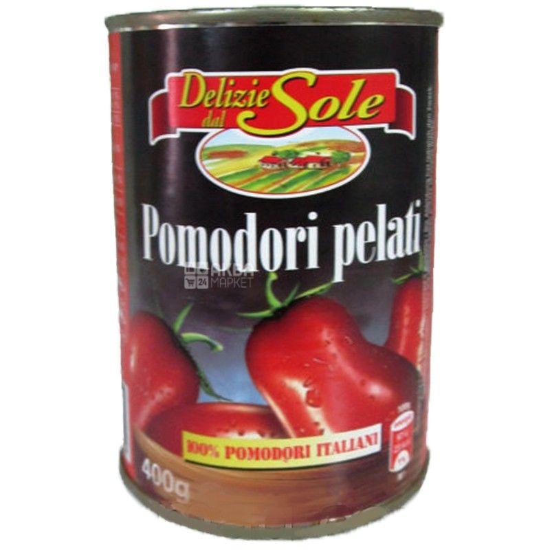 Delizie dal Sole, 400 г, Помидоры консервированные, Очищенные