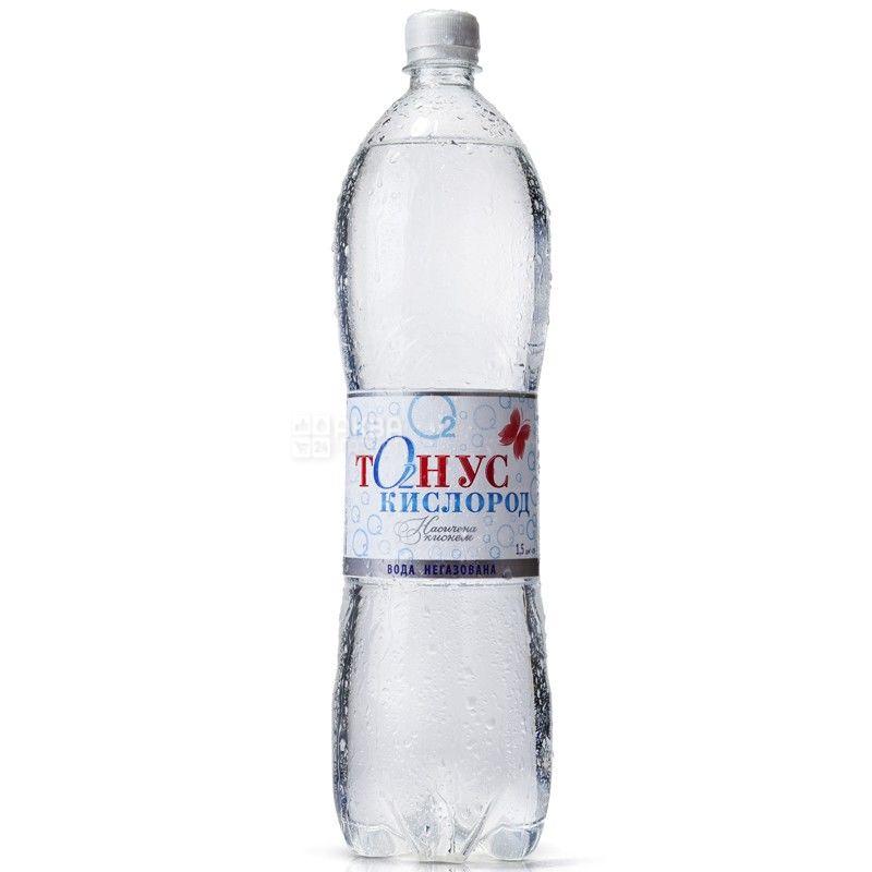 Куяльник Тонус-Кисень, 1,5 л, Упаковка 6 шт., Вода негазована, ПЕТ
