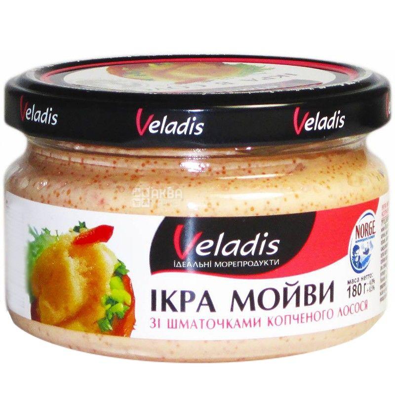 Veladis, 180 г, икра мойвы, с кусочками копченого лосося