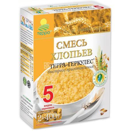 Терра-Геркулес, 800 г, хлопья быстрого приготовления, смесь 5 злаков