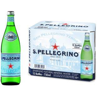 San Pellegrino, 0,75 л, Упаковка 15 шт., Сан Пеллегрино, Вода минеральная газированная, стекло