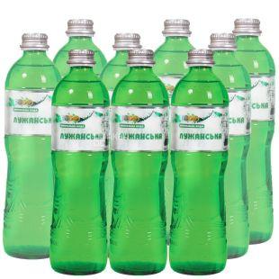 Лужанская Алекс, 0,5 л, Упаковка 9 шт., Вода минеральная газированная, стекло