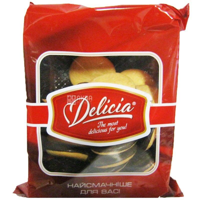 Delicia, 300 г, печенье сдобное, глазированное, с джемом, Апельсин