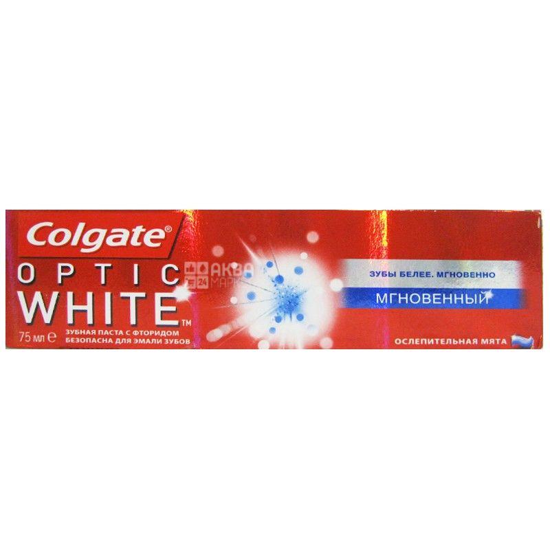 Colgate Optic White Sparkling mint, 75 мл, зубная паста мгновенный эффект