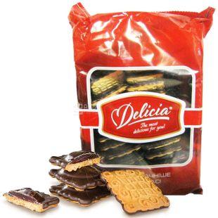Delicia, 400 г, печенье сдобное, Маргаритка, глазированное, с джемом, Малина