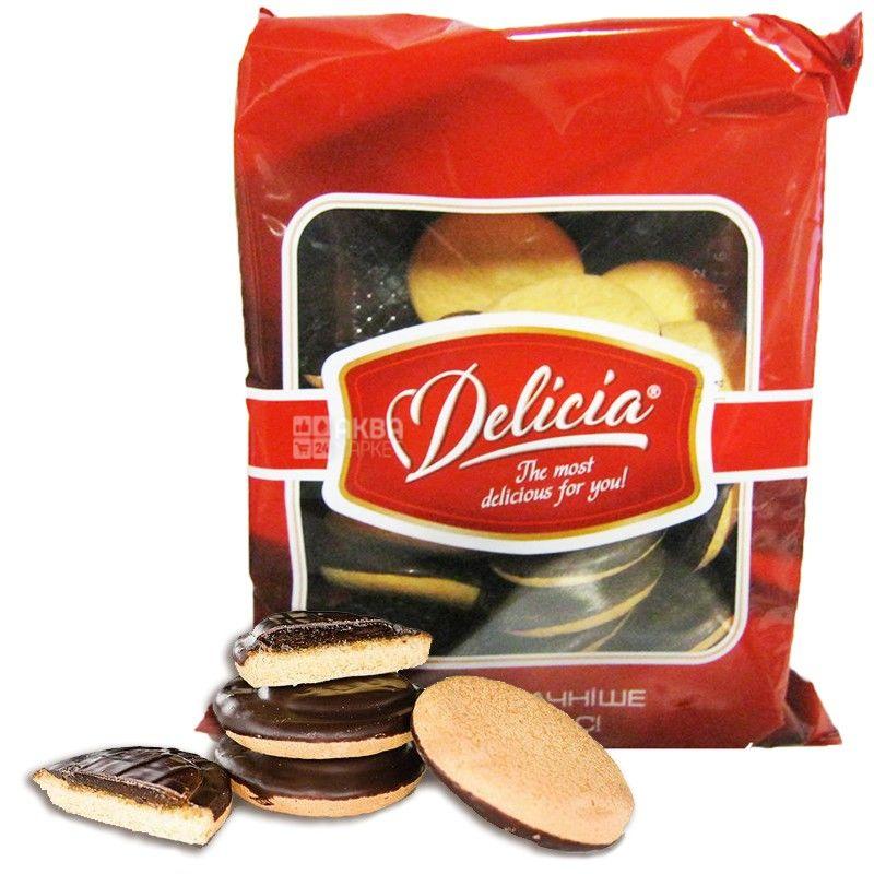 Delicia, 300 г, печиво здобне, глазуроване, з джемом, Апельсин