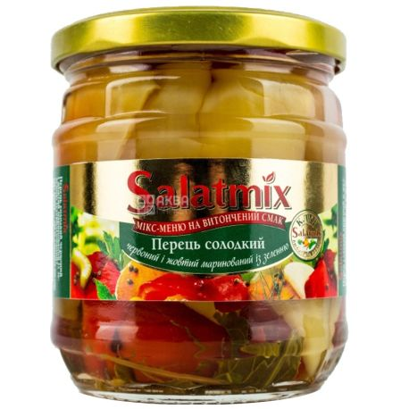Salatmix, 380 г, перець, солодкий червоний та жовтий, маринований з зеленню
