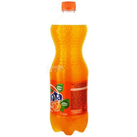Fanta, Апельсин, 1 л, Фанта, Вода сладкая, с натуральным соком, ПЭТ