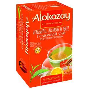 Alokozay, 25 шт., чай травяной, Имбирь, мёд и лимон