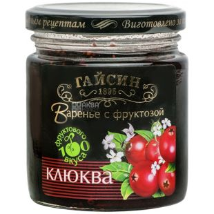 Варенье Гайсин, 270 г,  диетическое, Домашняя аптечка Клюква с фруктозой, стекло
