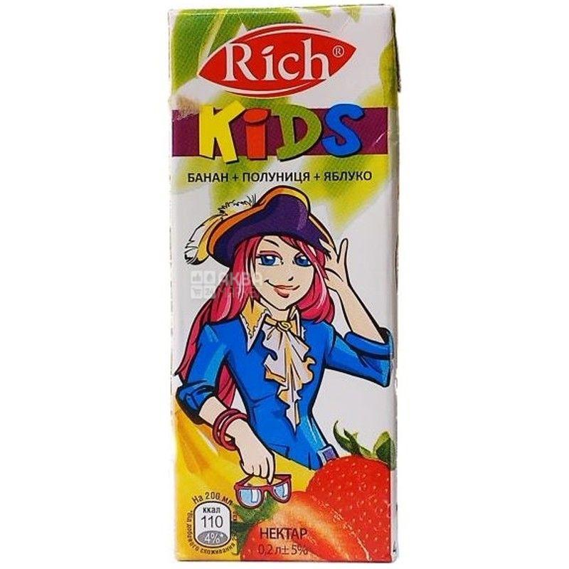 Rich Kids, Банан-полуниця-яблуко, 0,2 л, Річ Кідс, Нектар натуральний, дітям з 12-ти місяців