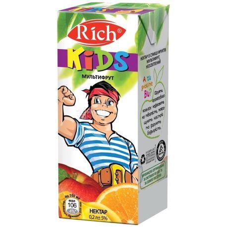 Rich Kids, Мультифруктовий, 0,2 л, Річ, Нектар натуральний