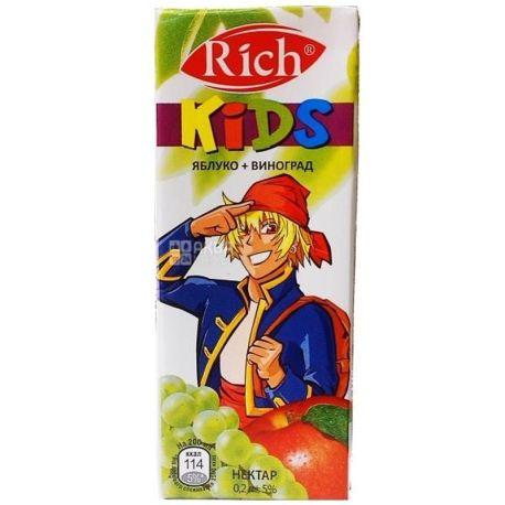 Rich Kids, Яблуко-виноград, 0,2 л, Річ Кідс, Нектар натуральний, дітям з 12-ти місяців