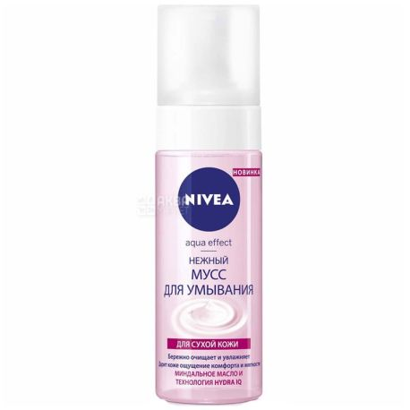 Nivea, 150 ml, gentle mousse for washing, Aqua Effect