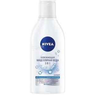 Nivea, 400 мл, вода мицеллярная освежающая, 3 в 1