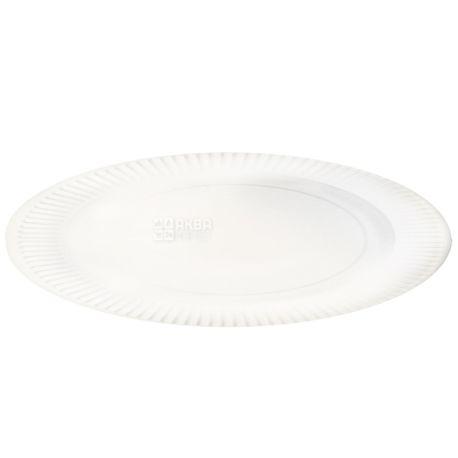Промтус, 100 шт., 250 мм, тарелка бумажная, Белая