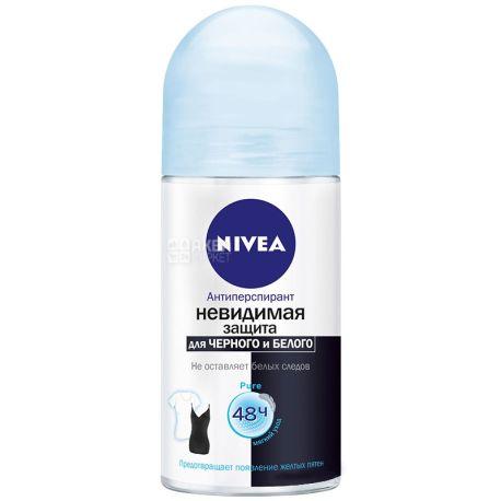Nivea, 50 мл, дезодорант шариковый антиперспирант, Невидимая защита для черного и белого, PURE