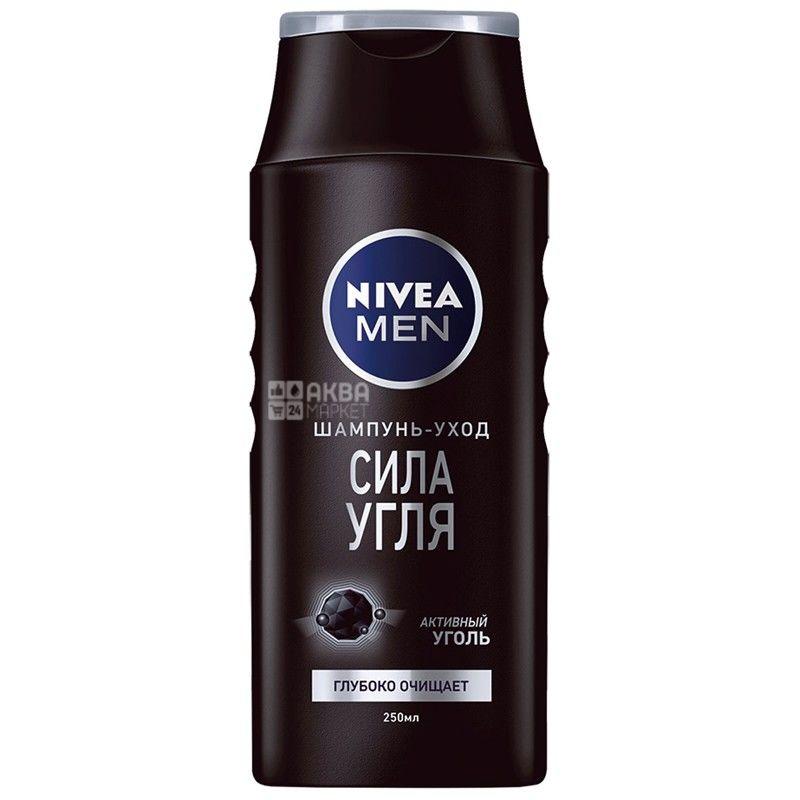 Nivea, 250 мл, шампунь для мужчин, Сила угля
