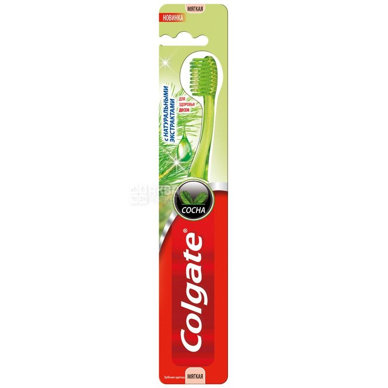 Colgate, 1 шт., Зубна щітка, З натуральними екстрактами, Сосна