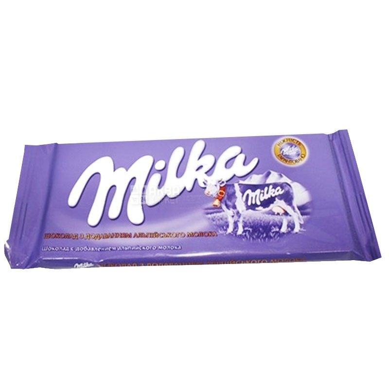Milka, 90 г, молочный шоколад, без добавок