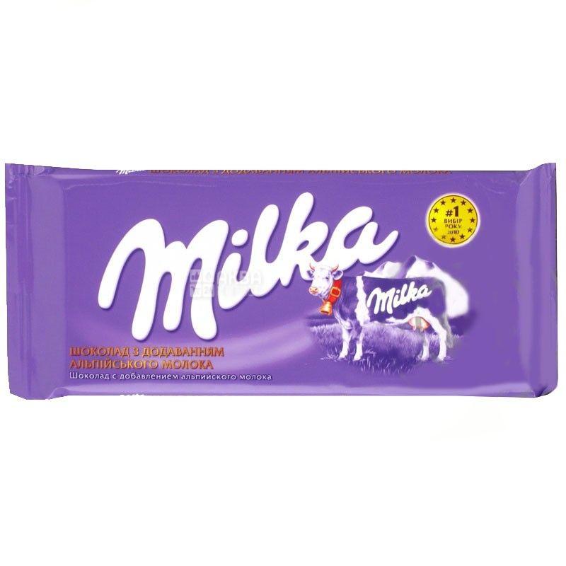 Milka, 90 г, молочний шоколад, без добавок
