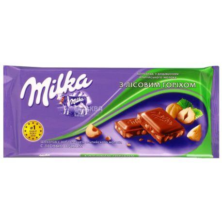 Milka, 90 г, молочний шоколад, з подрібненими лісовими горіхами