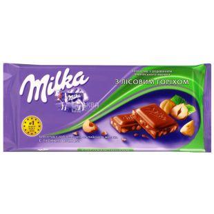 Milka, 90 g, milk chocolate, with chopped hazelnuts