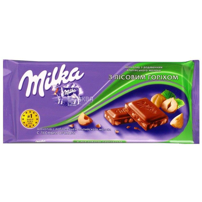 Milka, 90 г, молочный шоколад, с измельченными лесными орехами