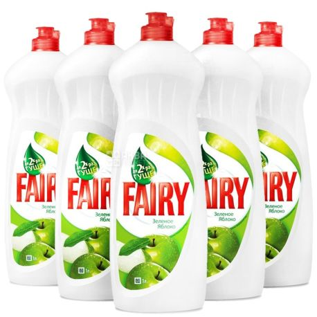Fairy, Засіб для миття посуду Фейрі, Яблуко, 1 л, Упаковка 10 шт.