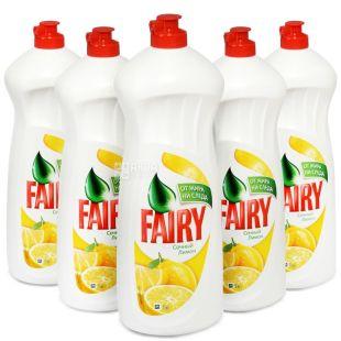 Fairy, упаковка по 10 шт. по 1 л, засіб для миття посуду, Лимон