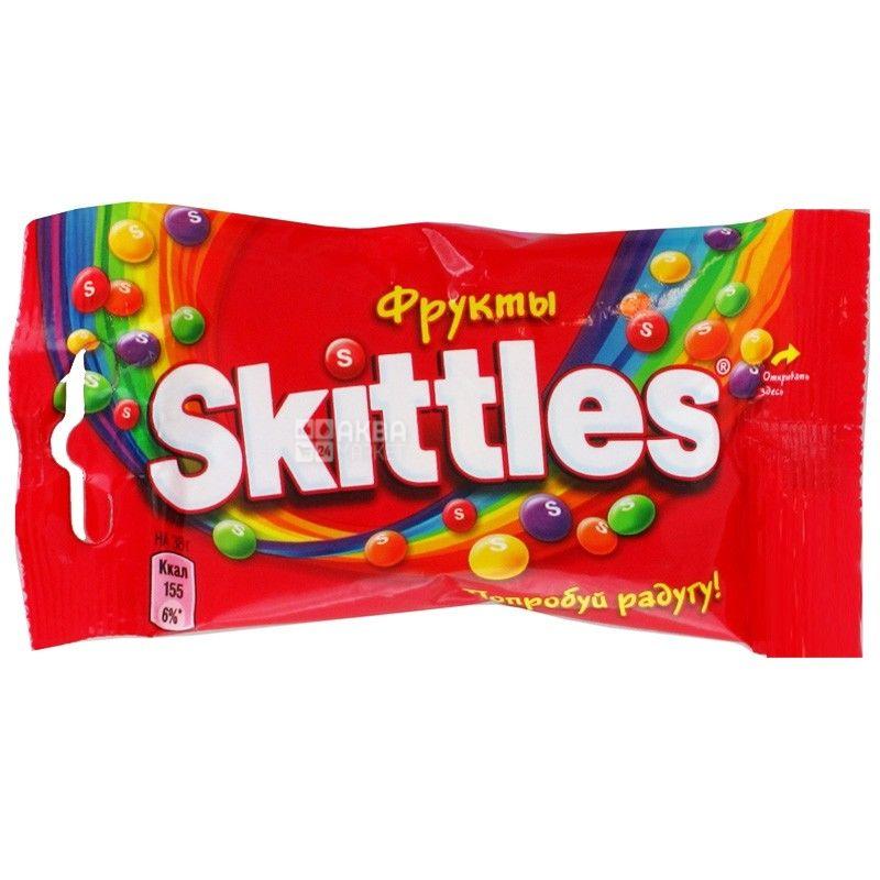 Skittles, 38 г, конфеты жевательные, Фруктовый микс, м/у